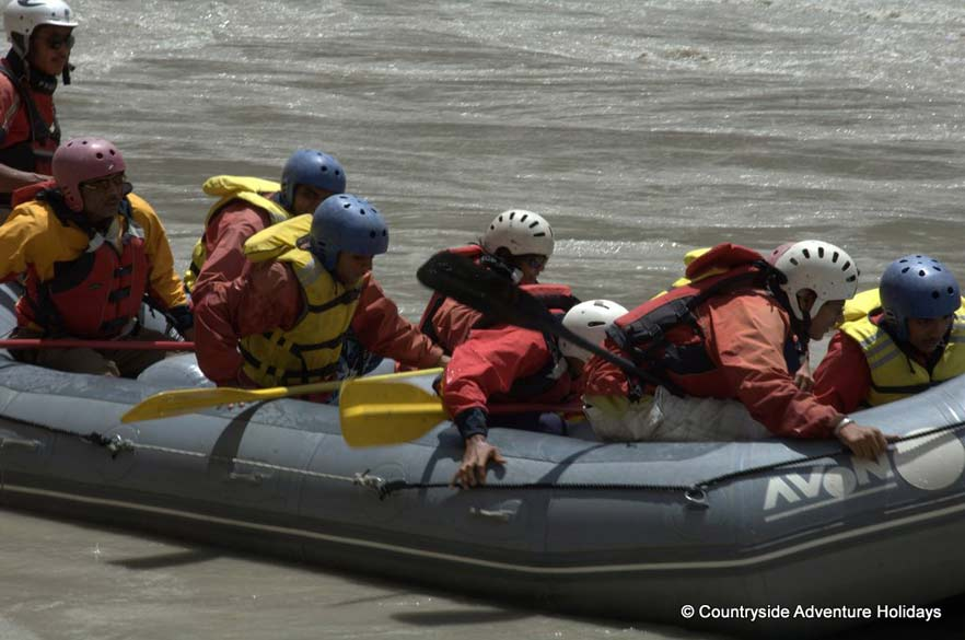 Practicing river rafting. Note that Nimmu is the confluence of the Indus and Zanskar rivers.