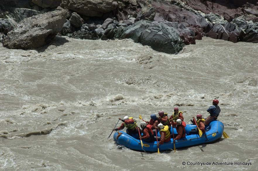 Rafting on the river amidst the rapids. `The Zansar gorge is referred to as the Grand Canyon of Asia by many`.