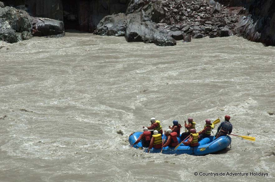 Rafting on the river amidst the rapids. The 7 day rafting trip is supposed to be a trip of a life time. Best time to go is August.