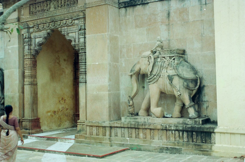 This is Elephant Gate the entrance to the Adhinath (the first Tirthankara) temple. It has elephants on either side of the gate although what you see is only elephant.
