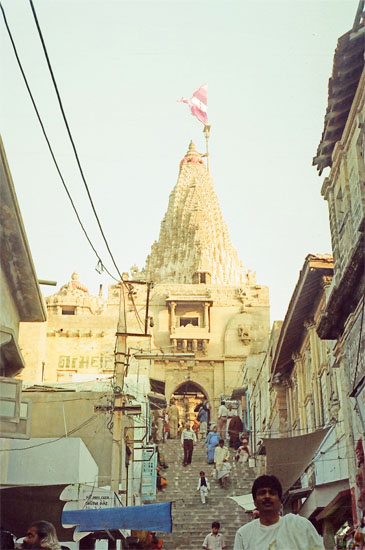 This is the Gomti ghat entrance to the temple. Like all temple entrances it faces the east. For whatever reason most devotees enter the temple from the western side today.  The eastern being the older of the two implies during all times people used to enter the temple from the Gomti riverside that is believed to have been connected by land with the residence of Bet Dwarka, the residence of Lord Krishna.