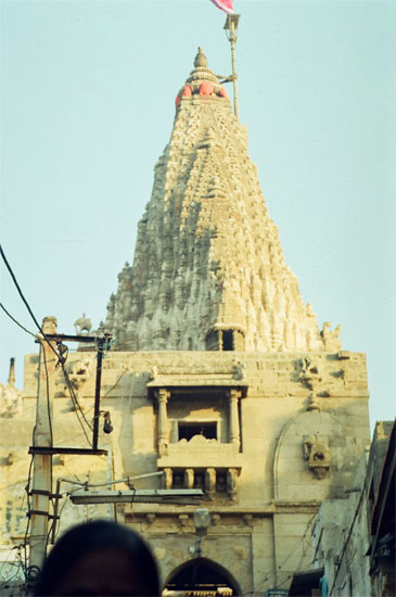 A closer view of the main Shikhara from the steps. Note early morning sun s rays falling on the temple.