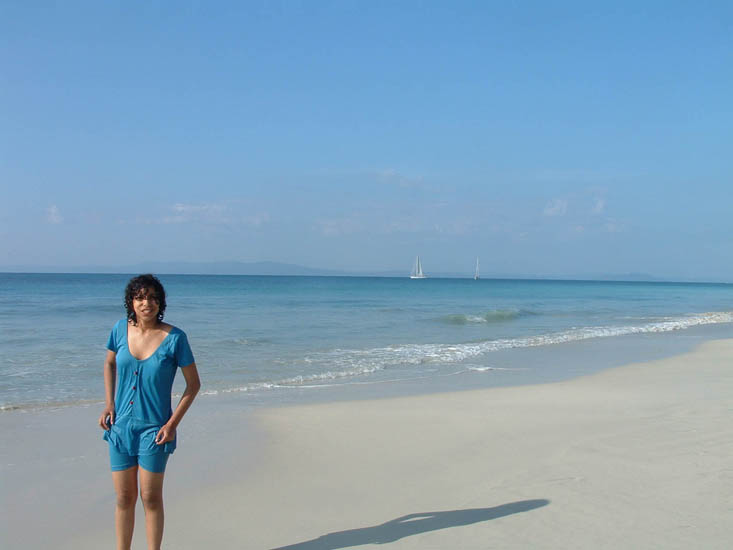 It``s all blue ... and serene ... at Havelock``s Radhanagar beach. Devyani moves into the picture-postcard frame just in time