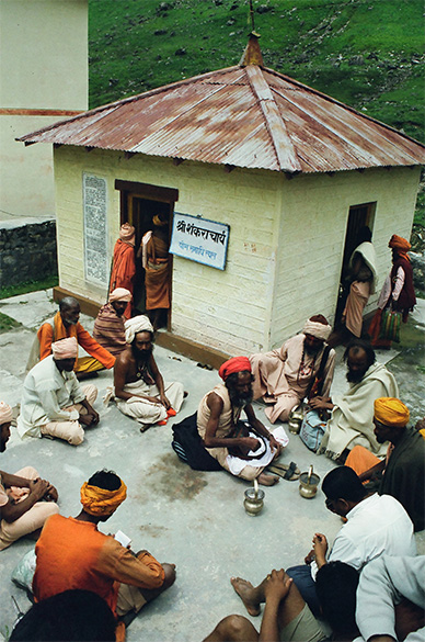 Sadhus outside Shankaracharya Samadhi.