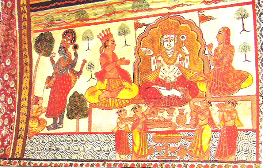 The interiors of Raj Mahal are decorated with paintings of Gods and epics. Only natural colors have been used in murals in Orchha. The pigment that was most widely used are Red, Orange, Golden, Yellow, Green, White, brown and black.