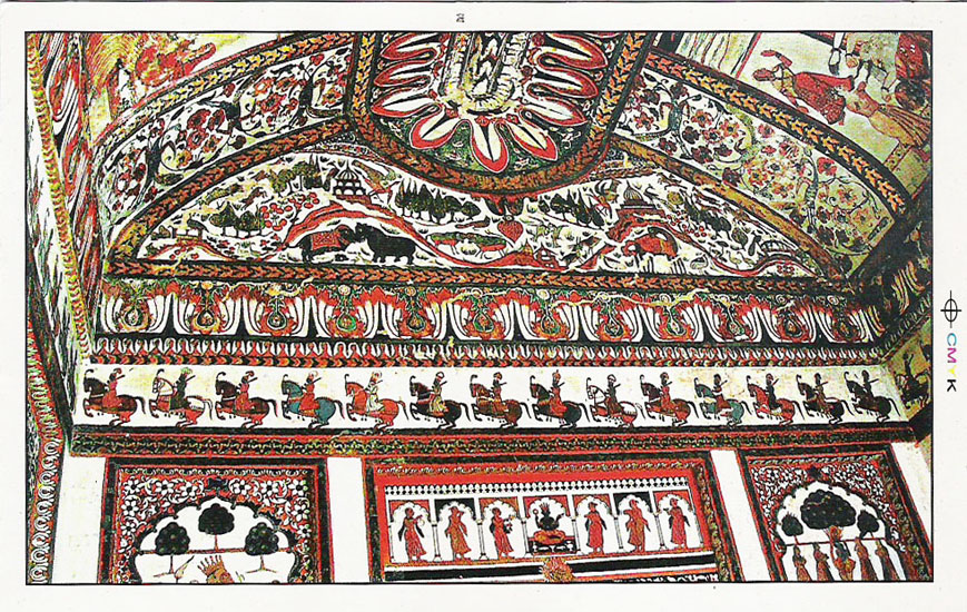 This is a postcard that shows one of the ceilings of Raj Mahal.