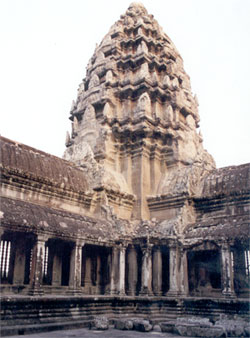 Central Tower, symbolizing Mount Meru, third level, Angkor Wat. 65 metres (213 feet) is the height of the Angkor Vat from ground to the top of the Central Tower.