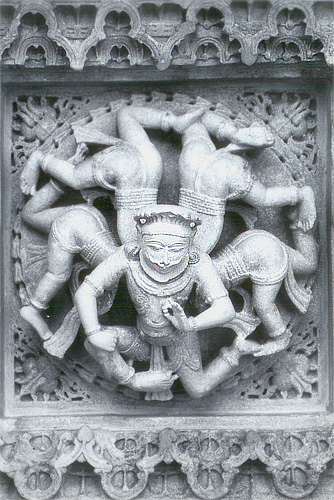 You see 'Astakul Nag Anant Dev. It is a carving on the ceiling of one the temples.
