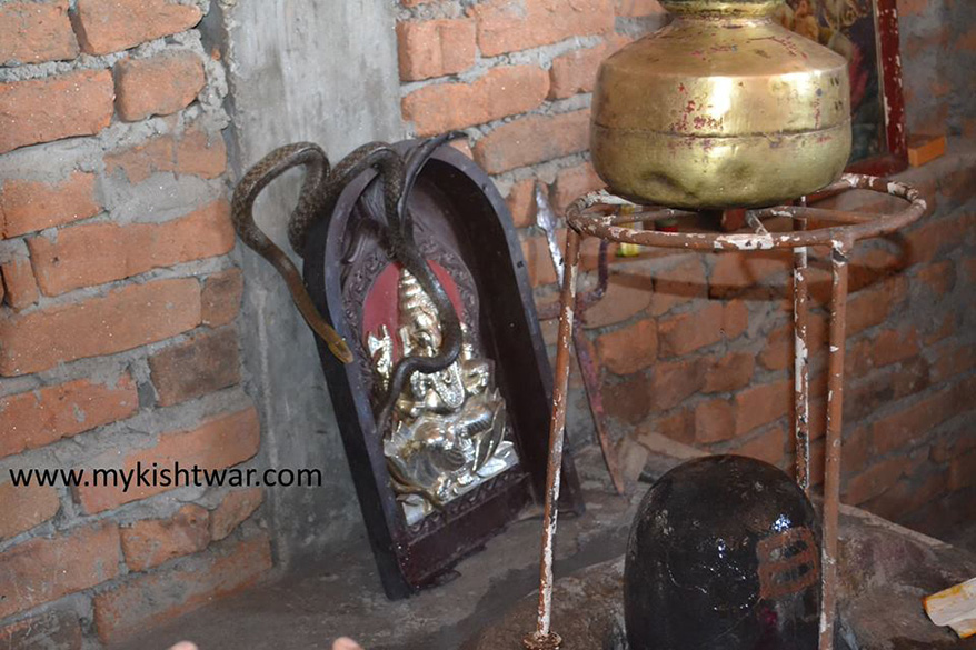 Shiv Temple at Nanth Nallah, i was lucky enough to capture this pic with snake on Shiv Lingam.