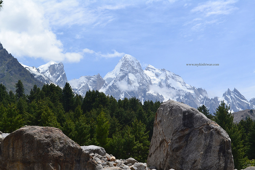First view of world famous Brahma peaks. It was on the morning of the fifth day of our ``yatra`` that we sighted the Brahma peaks.