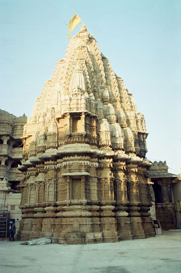 A closer view of the Pradumyna temple, note sun s rays falling on the top part of the temple