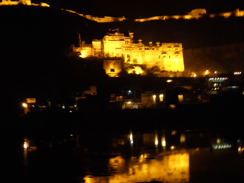 Bundi Fort at night fully lit.