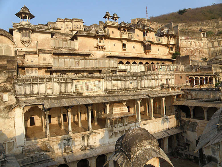 Another view of Bundi palace with the king``s throne in the centre.