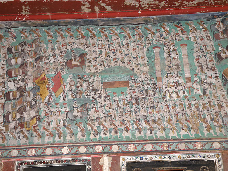 A close up of the earlier painting shows the army.