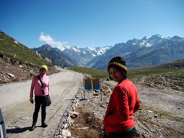 ROHTANG PASS - which in Tibeatian means PILE OF CORPSES. I guess had we known of this before we would have happliy driven past and not posed with all our teeth falling off our mouths.