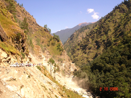 After Yamunotri the next dham is Gangotri. Enroute you come across a number of landslides (due to deforestation). We too were stuck because of one such landslide (we were told there were blasts in the hill above making a road for approach to a hydel power