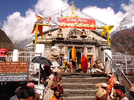 Entrance to Mandir. This is one of the Panch Kedars—when Shiva was running from the Pandavas, he disguised himself as a buffalo, and when Bhima finally caught him, Shiva fell in five parts, commemorated by the Panch Kedar mandirs, and the main Kedarnath s