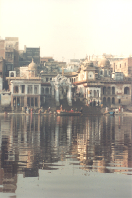 Vishram Ghat on the river Yamuna, Mathura. They have an aarti (prayer) on the ghat every evening.