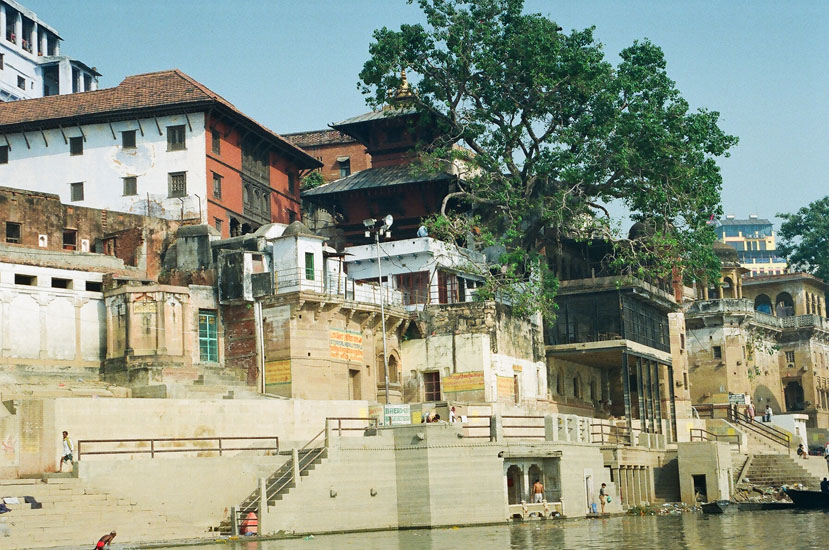 You see Lalita Ghat – King of Nepal. You see a historical temple on the left of the tree.