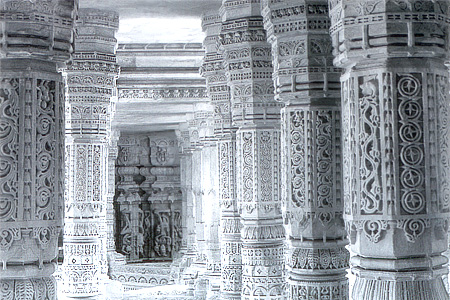 Elaborate carvings on the pillars of the main temple.