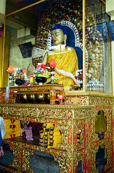 Statue of Lord Buddha inside the hall.
