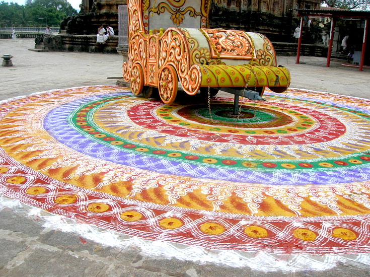 Rangoli at the huge Tunga Complex in Sringeri