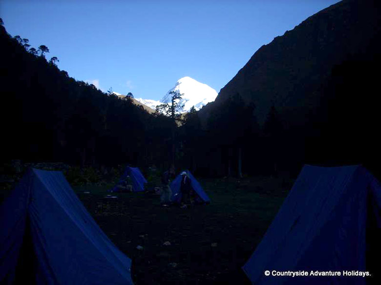 Camping at Shana ie at 11545 feet. From Shana trek 22 kms to Thangthangkha app 6-7 hours.