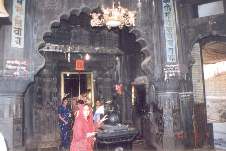 Wife Aparna inside the temple