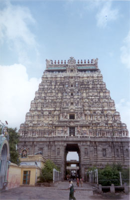 What you see is the north tower erected by the Vijayanagara ruler Krishna Deva Raya in 1517 to commemorate his northern victories.