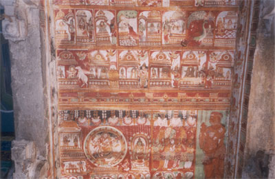 Paintings on the ceiling of the Parvati Temple.