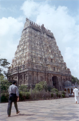 What you see is the south gopuram of seven storeys was erected by Sendamangalam Kadavarayan, was a devout bhakta of Nataraja. Construction started in 1237 a.d. & was completed in three years.
