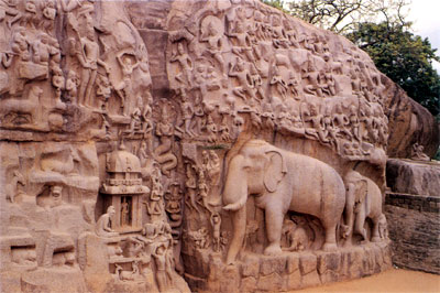 Descent of Ganges. A prodigious rock wall (eight feet in length & thirty feet in height) carved by the Pallava artisans reflects in bright sunshine, the timeless story of the descent of the Ganges. Copyright V Kutumba Rao. Note the gigantic elephants with delineation of features.
