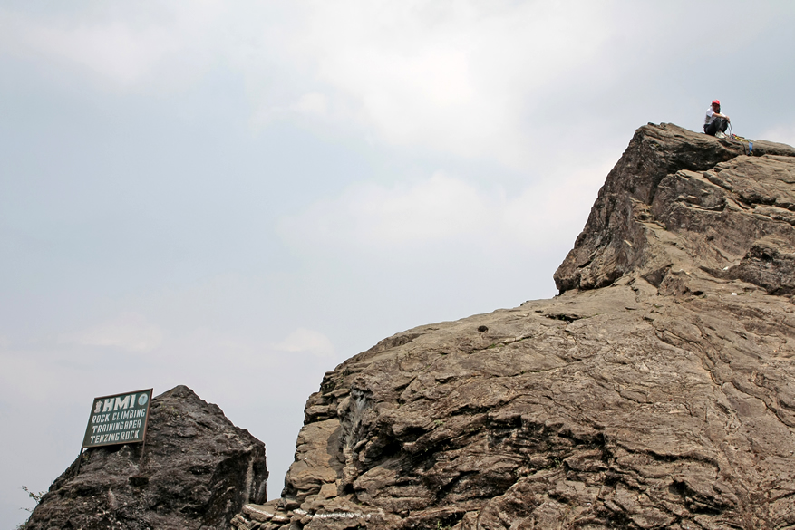 Tenzing Rock named after the famous mountaineer. This is used by the Himalayan Mountaineering Institute for practice and training.