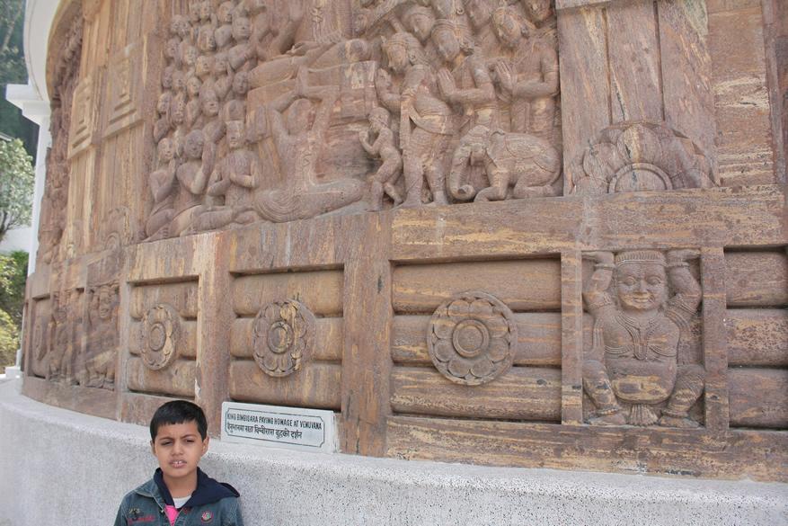 Beautiful stone carvings at the bottom of the peace pakoda.