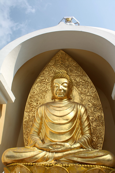 Golden Buddha, one of the many sculptures of Lord Buddha that we saw in Darjeeling.