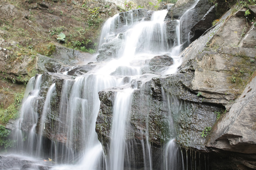 Summer Waterfalls meaning these are seasonal, in between Rock Garden and main Darjeeling city.
