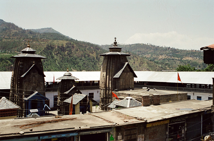 Lakshmi Narayan Temple Complex, Chamba built in Shikhara style,10-11th century a.d. Right to left are the Lakshminarayan, Radhakrishnan and Chandragupta temples dedicated to Lord Vishnu, Vishnu and Shiva in that order.