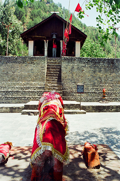 Welcome to Chamba Valley, 996 metres - Entrance to Shri Chamunda Devi Temple is all wood, 10th century a.d.