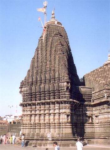 Main shikhara of the temple, note the trishul on top.