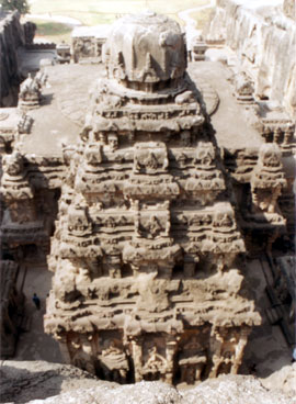 A closer look of the Vimana taken from the eastern side i.e. the backside of the temple.