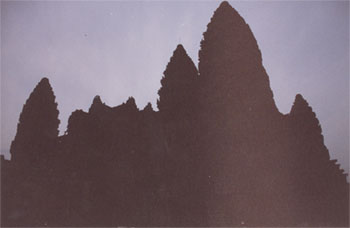 Five towers in silhouette, Angkor Wat,