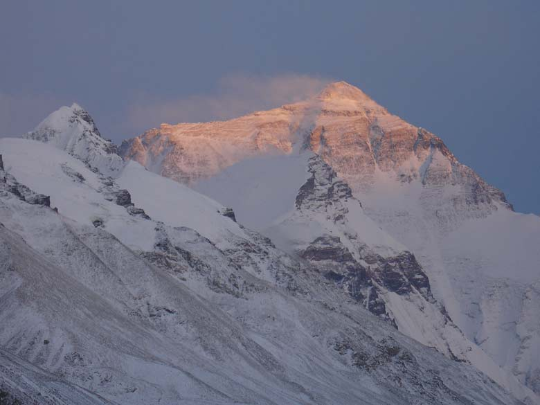 Everest at dawn. You can see the early morning rays falling on the everest.