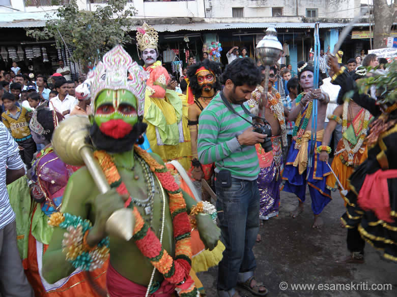 You see an artists playing the role of Hanumanji.