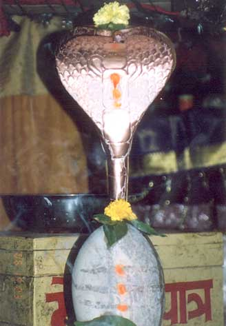 Shivling at the highest temple point called Dhwajeshwar.