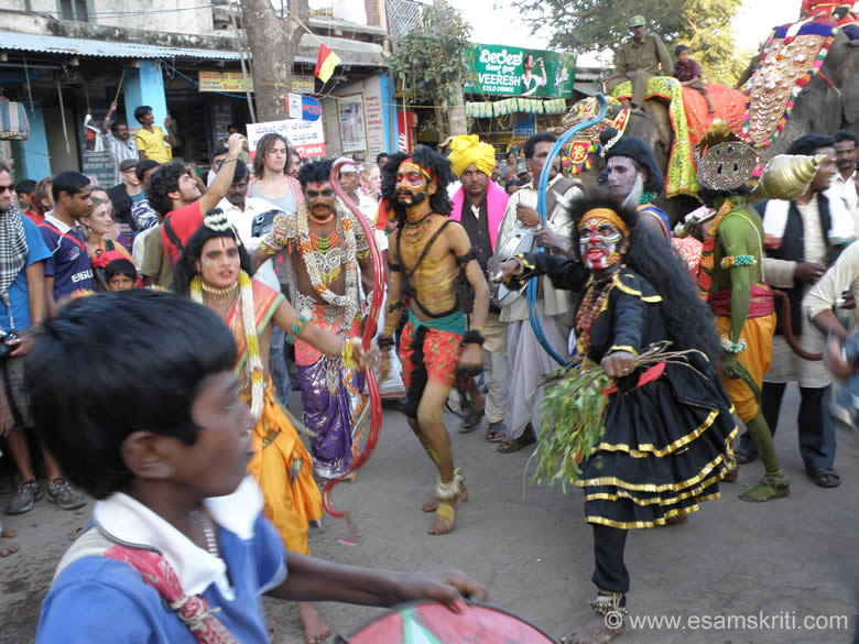 Scenes from the Ramayan being enacted outside the Virupaksha temple. Person with the blue bow is Lord Ram.