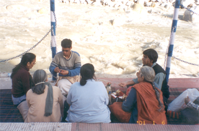 Puja (prayer) on the banks of the Ganga.