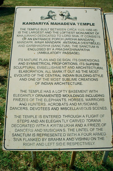 Board outside temple. Built between 1025-1050 A.D. Largest Khajuraho temple dedicated to Lord Shiva.