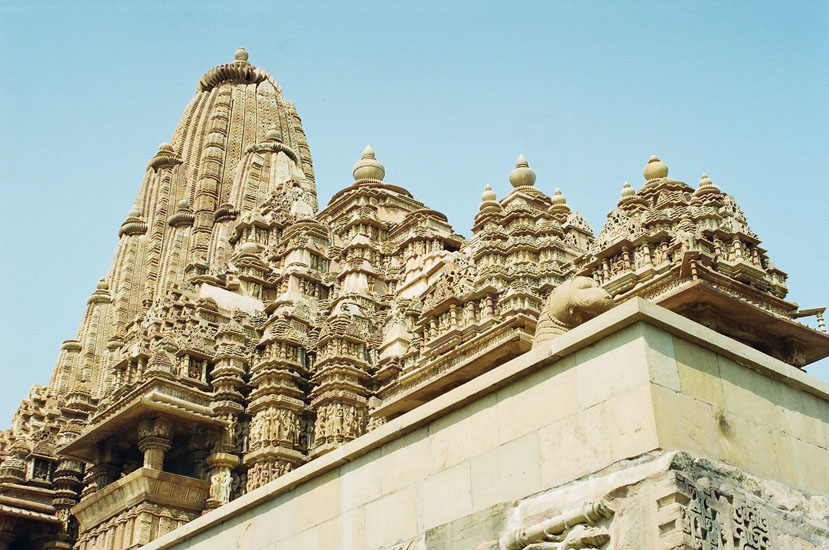 A close-up view of the top portions of the temple