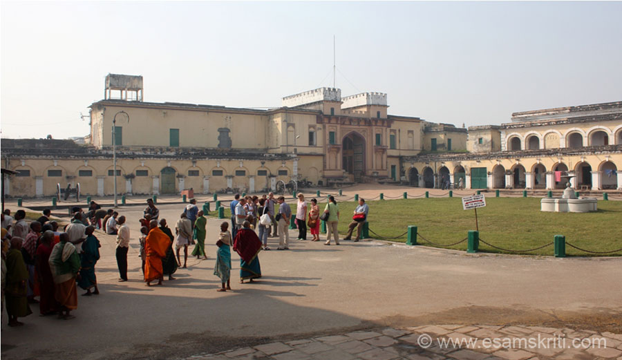 As you walk past the entrance gate is a huge open area that you see. Left of pic is a museum, walked thru the entrance into another open area which leads to the Vyasa temple. Maharaja