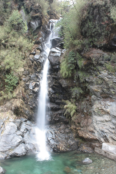 Kyongnosla Waterfall at 10375 feet. Is in Gangtok but outside the city, enroute to Tsomgo Lake.